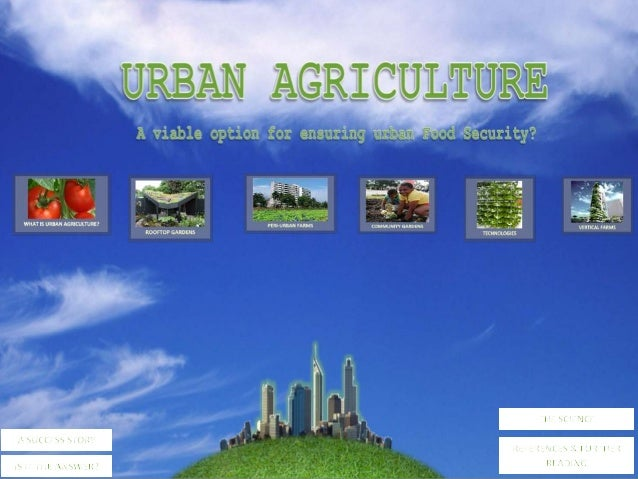 WHAT IS URBAN AGRICULTURE?The World Health Organisation defines food security as being when all people at all times have a...