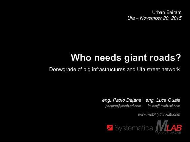 Urban Bairam Ufa – November 20, 2015 www.mobilitythinklab.com Donwgrade of big infrastructures and Ufa street network eng....