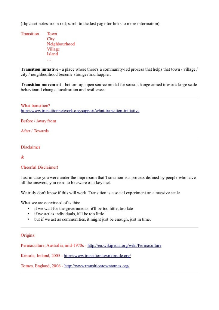 (flipchart notes are in red; scroll to the last page for links to more information)Transition     Town               City ...