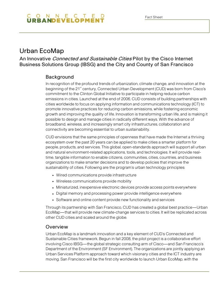 Fact Sheet     Urban EcoMap An Innovative Connected and Sustainable Cities Pilot by the Cisco Internet Business Solutions ...