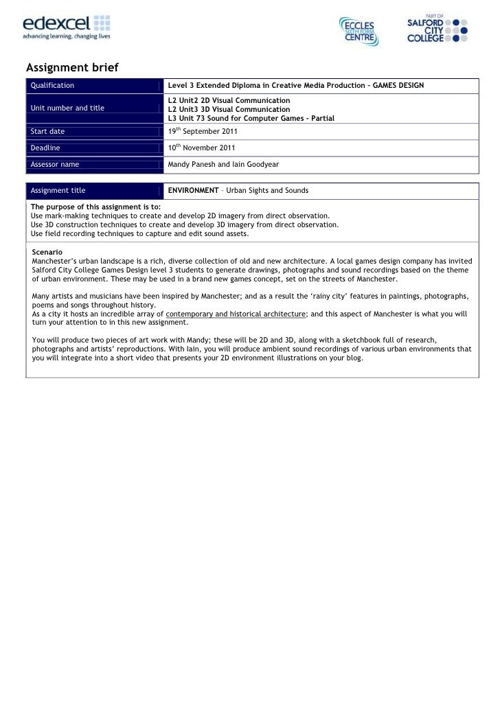 Assignment briefQualification                            Level 3 Extended Diploma in Creative Media Production – GAMES DES...