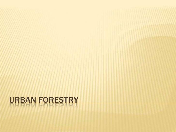 Urban Forestry<br />