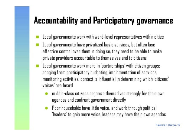 determining the level of domination of the central government over the local government Balance of power: central and local government 3 popular participation at the local level and popular matters because at its heart is the challenge of improving the lives of local people and local communities, and determining where the decisions that affect them directly.