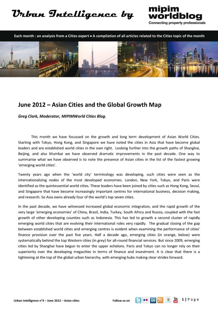 Urban intelligence - June 2012 - Asian cities and the global growth map