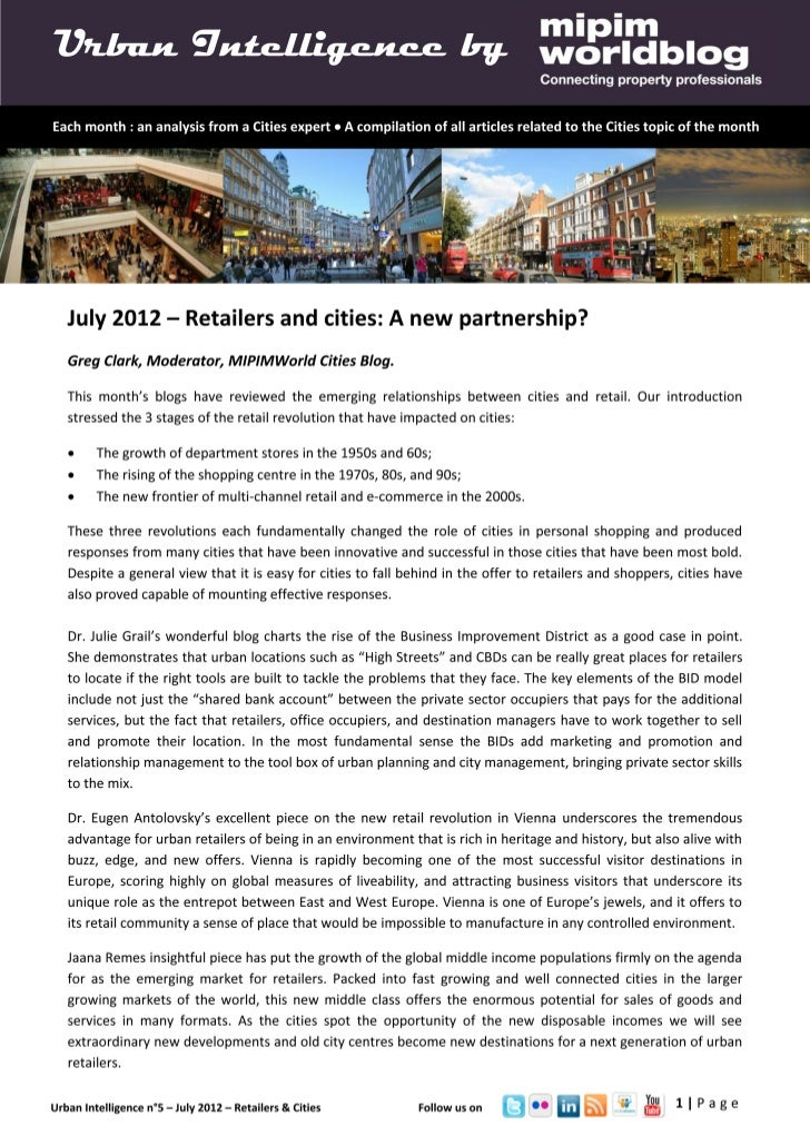Urban intelligence - July 2012 - Retail & cities: a new opportunity?