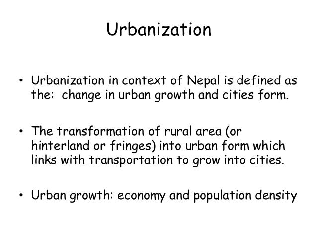 define the term urbanisation