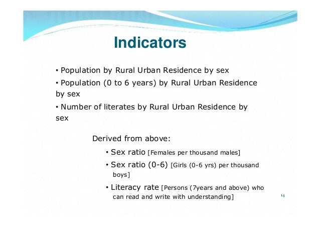Indicators• Population by Rural Urban Residence by sex• Population (0 to 6 years) by Rural Urban Residenceby sex• Number o...