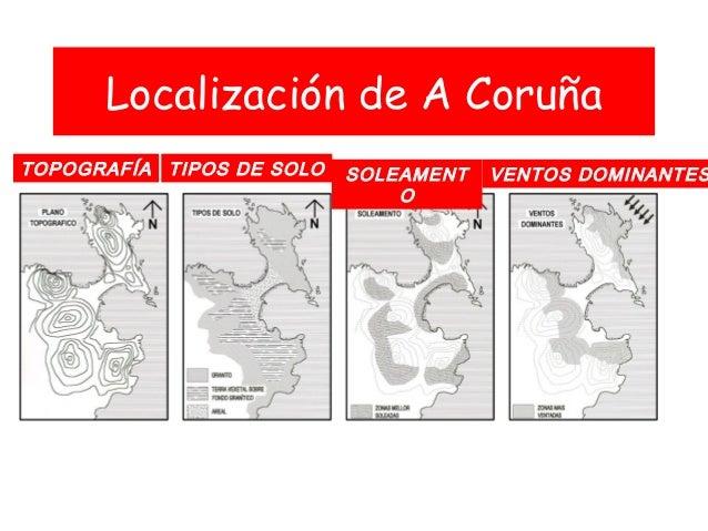 Localización de A Coruña TOPOGRAFÍA TIPOS DE SOLO SOLEAMENT O VENTOS DOMINANTES