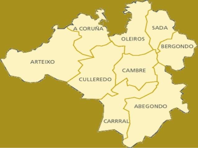 Croquis onde se pode observar a extensión e límites dos dous concellos. No de Oza sinálanse A súa división en parroquiasFt...