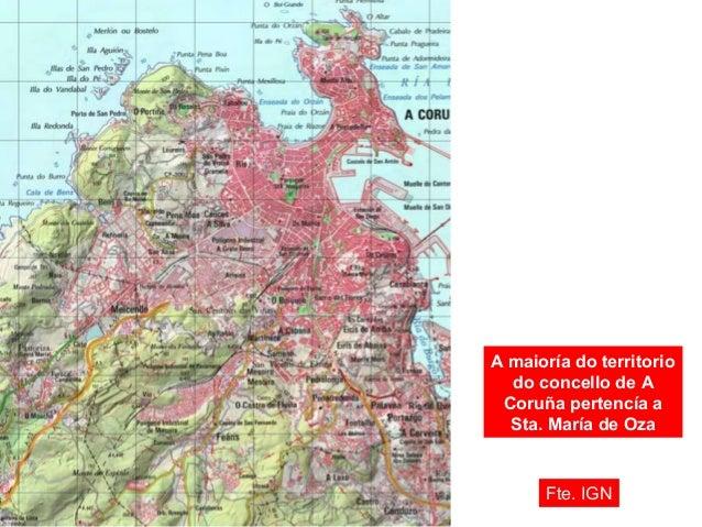 Límites aproximados entre A Coruña e Oza. fixado en 1890 Fte. IGN