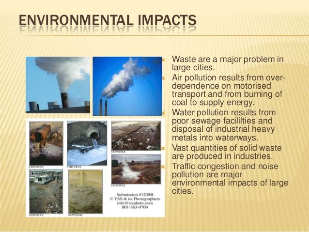 ENVIRONMENTAL IMPACTS                   Waste are a major problem in                    large cities.                   ...