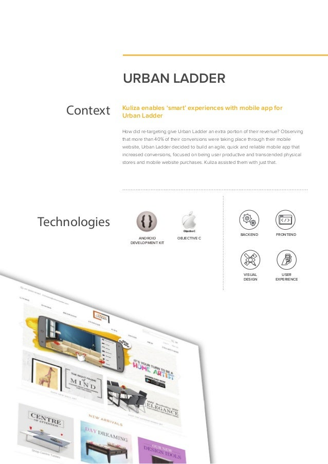 URBAN LADDER Context Kuliza enables 'smart' experiences with mobile app for Urban Ladder How did re-targeting give Urban L...