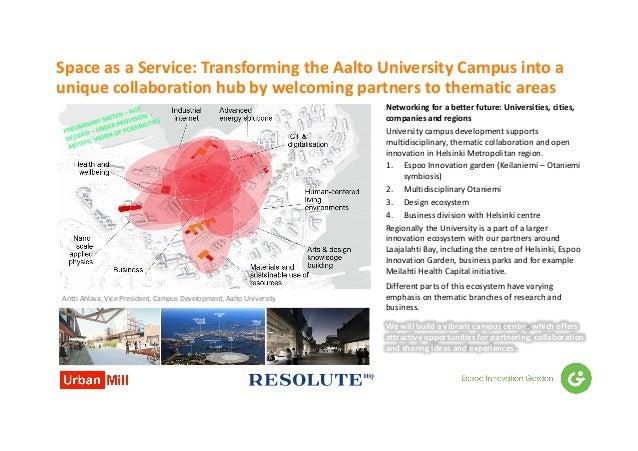 SpaceasaService:TransformingtheAaltoUniversityCampusintoa uniquecollaborationhubbywelcomingpartnerstothe...