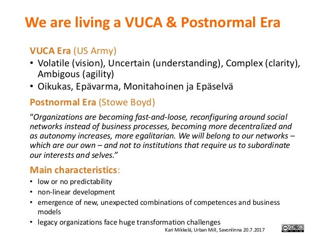 We are living aVUCA&Postnormal Era VUCAEra(USArmy) • Volatile(vision),Uncertain(understanding),Complex(clarity...
