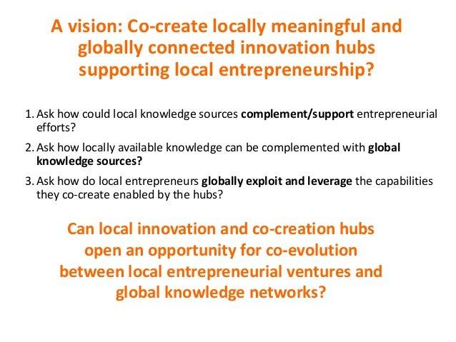 Avision:Co-createlocallymeaningfuland globallyconnectedinnovationhubs supportinglocalentrepreneurship? 1.Ask h...