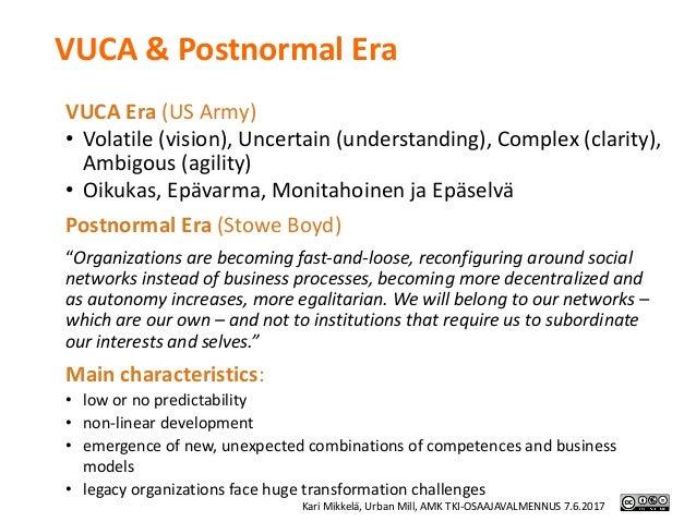 VUCA&Postnormal Era VUCAEra(USArmy) • Volatile(vision),Uncertain(understanding),Complex(clarity), Ambigous (ag...