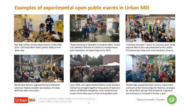 Co-working and Co-creation Platform for Urban Innovations Espoo, Finland www.urbanmill.org Examples of experimental open p...