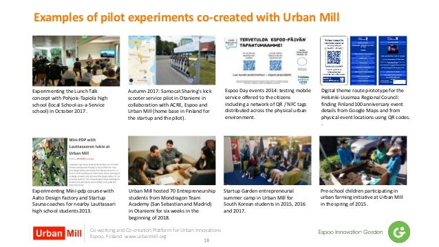 Co-working and Co-creation Platform for Urban Innovations Espoo, Finland www.urbanmill.org Examples of pilot experiments c...