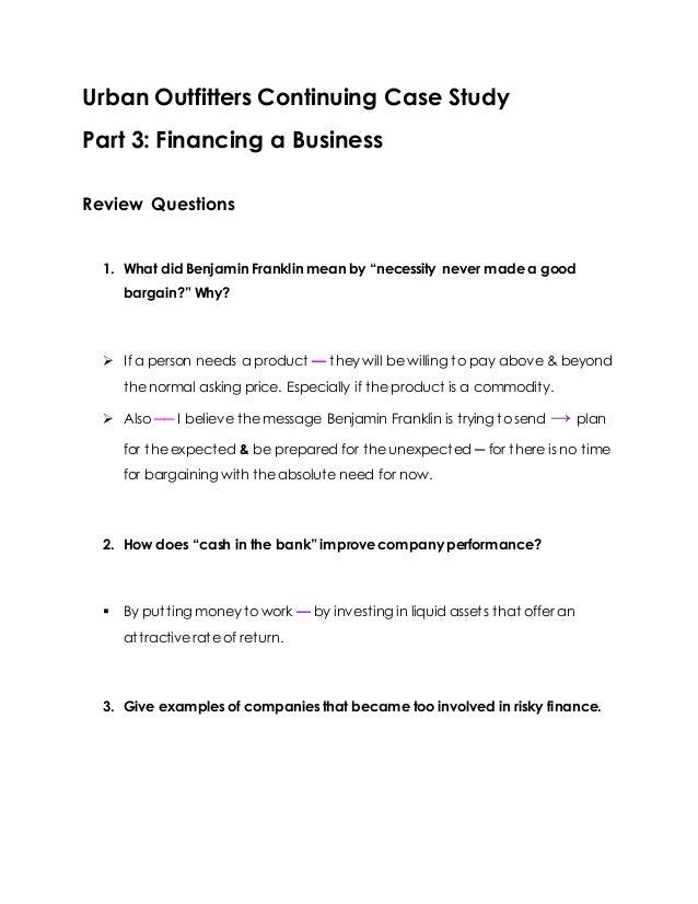 Urban outfitters Part 3 – Urban Outfitters Business Plan