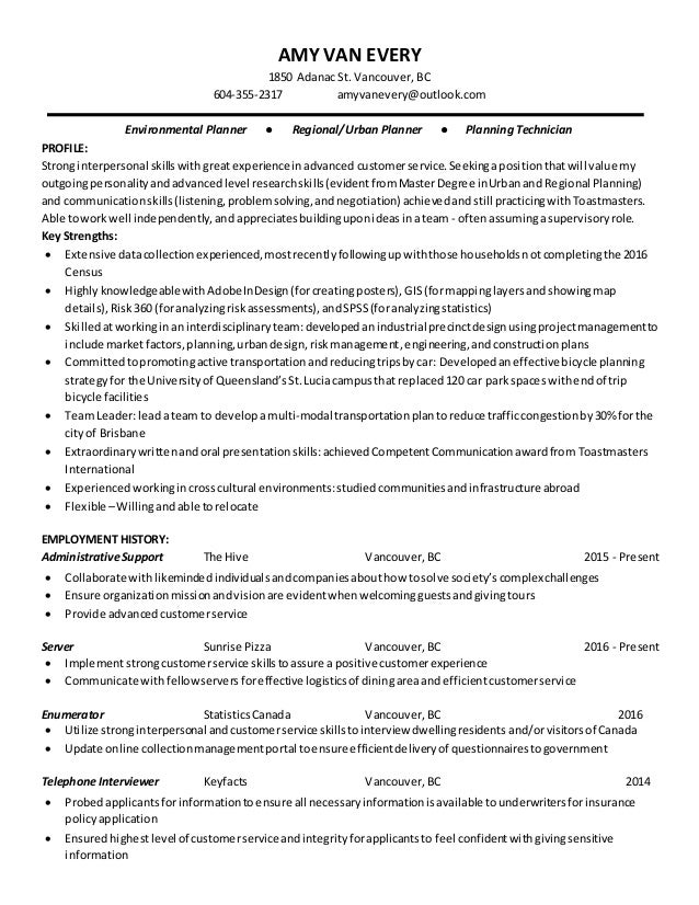 Charming Urban Planner 2016 Resume. AMY VAN EVERY 1850 Adanac St. Vancouver, BC  604 355 2317 Amyvanevery ... On Urban Planning Resume