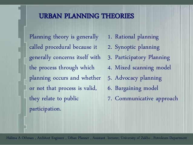synoptic planning approach And dialogic approaches in political, administrative and judicial arenas   substantive public interest concept in planning practice, a threshold criterion is.