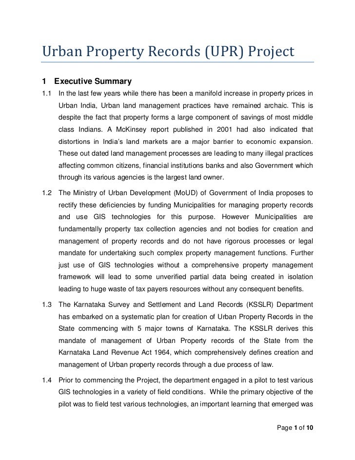 Urban Property Records (UPR) Project1 Executive Summary1.1   In the last few years while there has been a manifold increas...