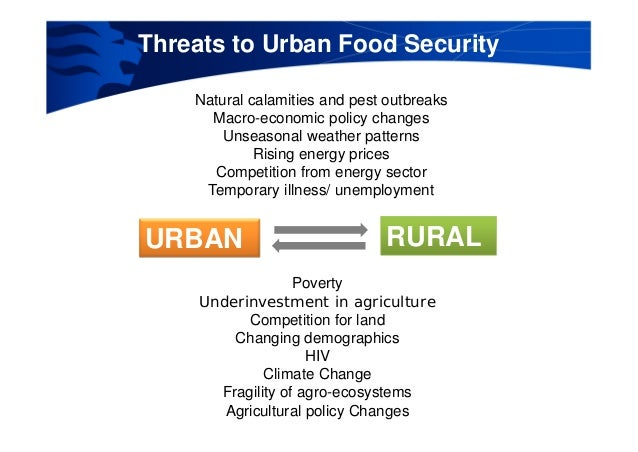 urbanization and food security Urban dwellers, and especially the urban poor, are increasingly much more affected by international food prices than small farmers food security in urban areas is tied to purchasing power whereas in rural areas food security is related to the availability of food in many cities, the urban poor spend up to 90 percent of their household income on food.