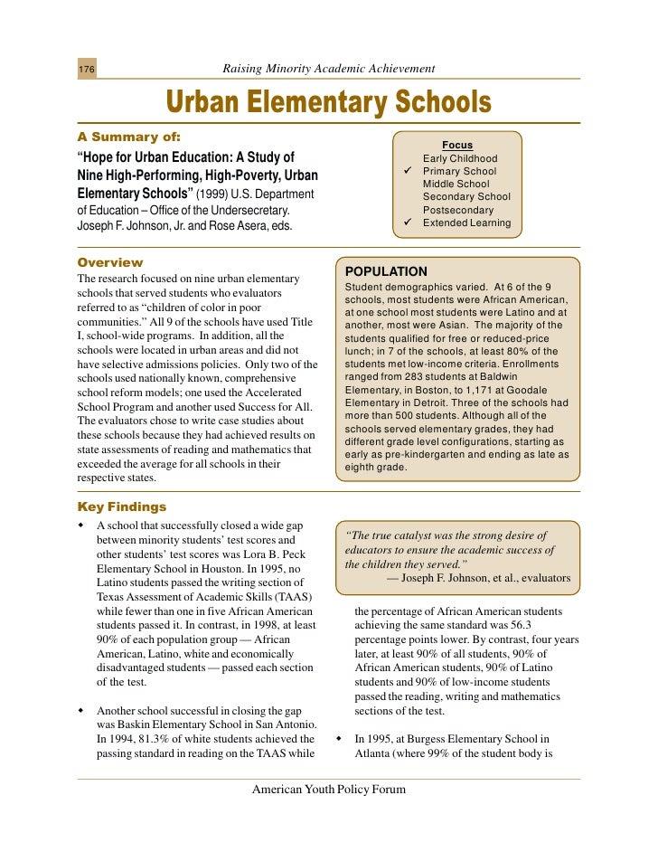 176                               Raising Minority Academic Achievement                        Urban Elementary Schools A ...