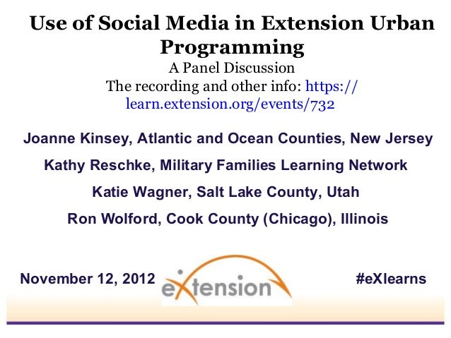 Use of Social Media in Extension Urban              Programming                    A Panel Discussion           The record...
