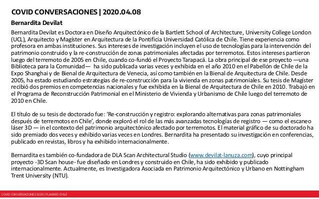 COVID CONVERSACIONES 2020 | PLANRED CHILE COVID CONVERSACIONES | 2020.04.08 Bernardita Devilat Bernardita Devilat es Docto...