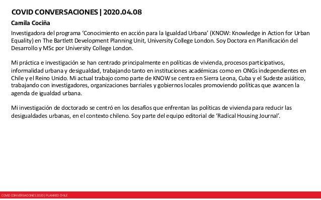 COVID CONVERSACIONES 2020 | PLANRED CHILE COVID CONVERSACIONES | 2020.04.08 Camila Cociña Investigadora del programa 'Cono...