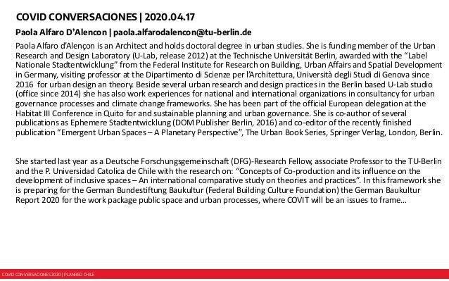 COVID CONVERSACIONES 2020 | PLANRED CHILE COVID CONVERSACIONES | 2020.04.17 Paola Alfaro D'Alencon | paola.alfarodalencon@...