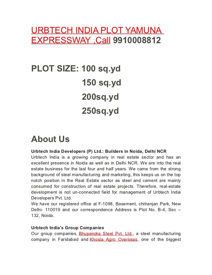 URBTECH INDIA PLOT YAMUNAEXPRESSWAY ,Call 9910008812PLOT SIZE: 100 sq.yd                        150 sq.yd                 ...