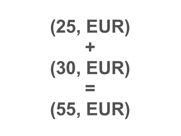 (25, EUR, today)  +  (30, EUR, next day)  =  exception