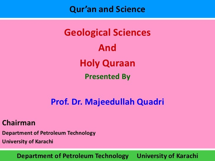 Qur'an and Science                      Geological Sciences                             And                         Holy Q...