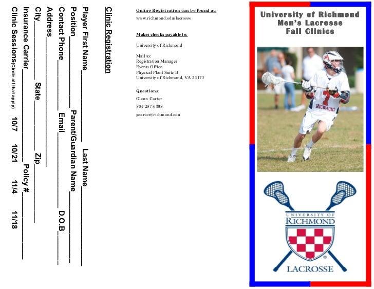University of Richmond                         Men's Lacrosse                           Fall ClinicsOnline Registration ca...