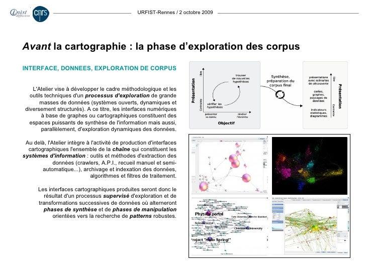 URFIST-Rennes / 2 octobre 2009 INTERFACE, DONNEES, EXPLORATION DE CORPUS L'Atelier vise à développer le cadre méthodologiq...