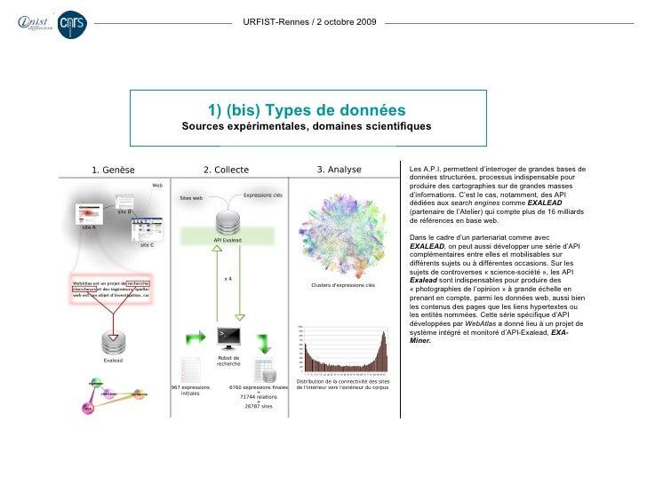 URFIST-Rennes / 2 octobre 2009 1) (bis) Types de données Sources expérimentales, domaines scientifiques Les A.P.I. permett...