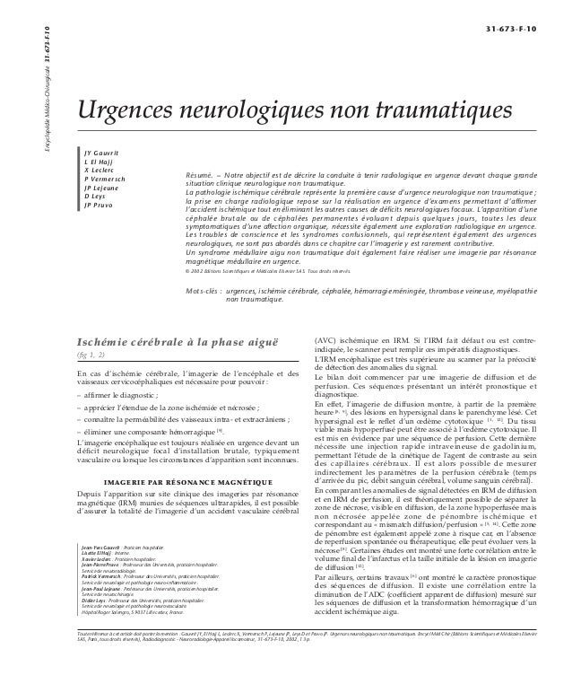 Urgences neurologiques non traumatiques  JY Gauvrit  L El Hajj  X Leclerc  P Vermersch  JP Lejeune  D Leys  JP Pruvo  Résu...