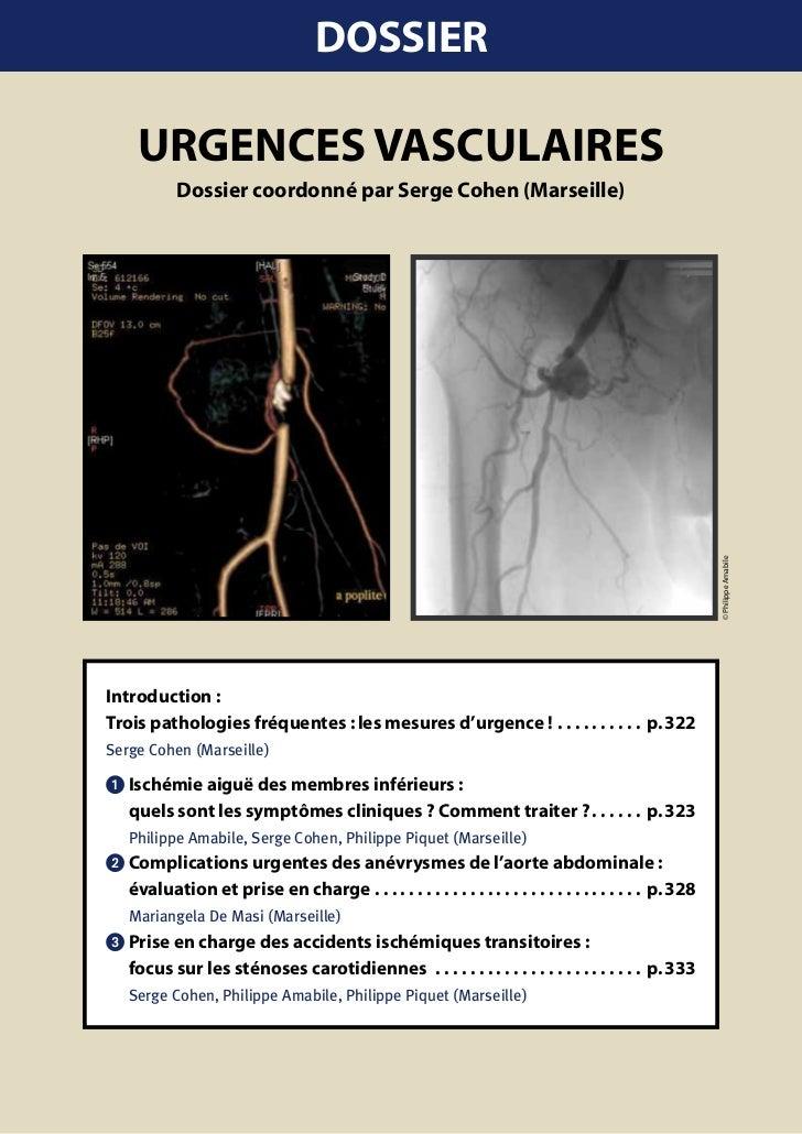 DOSSIER     URgEncES vaScUlaIRES           Dossier coordonné par Serge cohen (Marseille)                                  ...