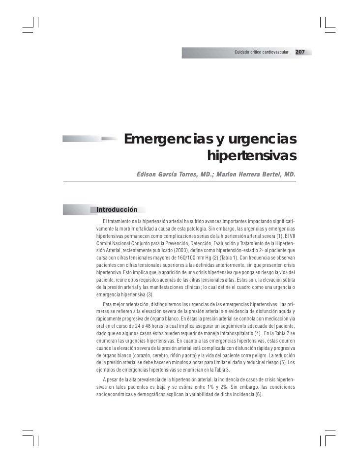 Cuidado crítico cardiovascular     207              Emergencias y urgencias                        hipertensivas          ...