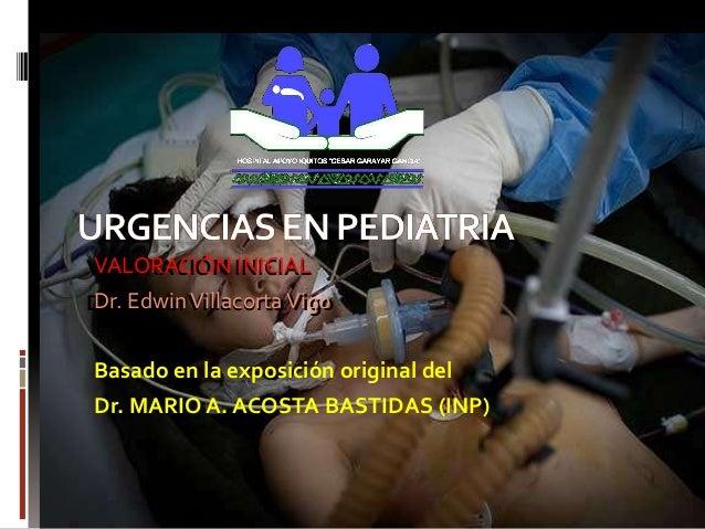 VALORACIÓN INICIAL VALORACIÓN INICIAL Dr. Edwin Villacorta Vigo Dr. Edwin Villacorta Vigo Basado en la exposición original...