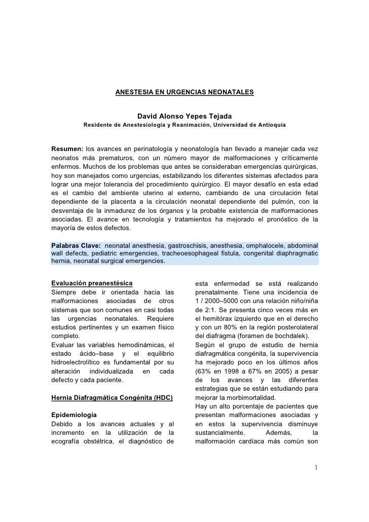 ANESTESIA EN URGENCIAS NEONATALES                               David Alonso Yepes Tejada           Residente de Anestesio...