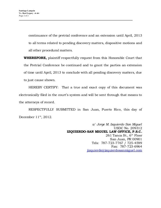 urgent motion requesting continuance of pretrial conference and for e