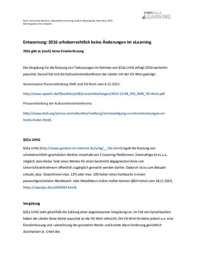 Ruhr-Universität Bochum, Stabsstelle eLearning, Kathrin Braungardt, Dezember 2015 Alle Angaben ohne Gewähr. Entwarnung: 20...