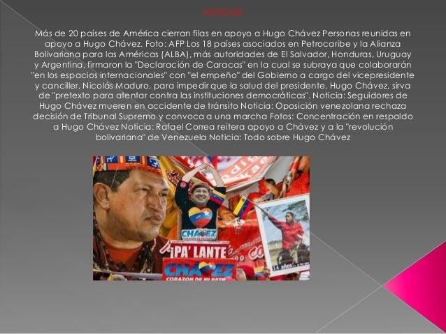 NOTICIAS Más de 20 países de América cierran filas en apoyo a Hugo Chávez Personas reunidas en    apoyo a Hugo Chávez. Fot...