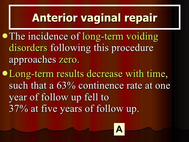 <ul><li>The incidence of  long-term voiding disorders  following this procedure approaches  zero .  </li></ul><ul><li>Long...