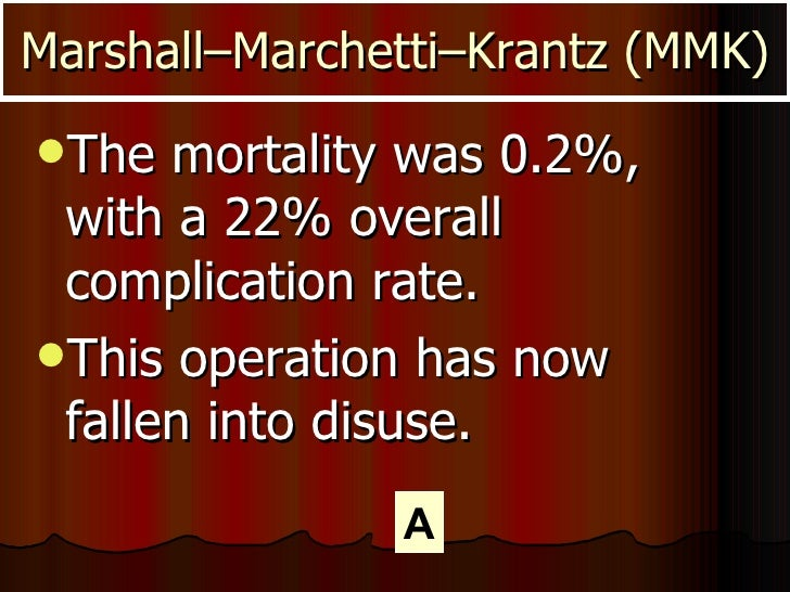 <ul><li>The mortality was 0.2%, with a 22% overall complication rate. </li></ul><ul><li>This operation has now fallen into...