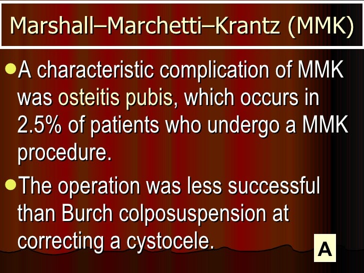 <ul><li>A characteristic complication of MMK was  osteitis pubis , which occurs in 2.5% of patients who undergo a MMK proc...