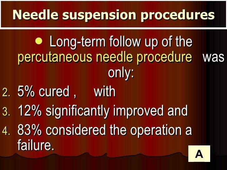 <ul><li>Long-term follow up of the  percutaneous needle procedure   was only: </li></ul><ul><li>5% cured ,  with  </li></u...